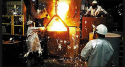 Engineers dealing with molten metal